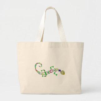 colored lizard Tribal Large Tote Bag
