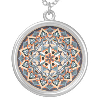 Colored Mandala 060517_3 Silver Plated Necklace