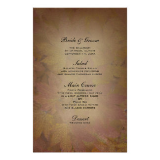 Colored Maple Leaves Wedding Menu Stationery