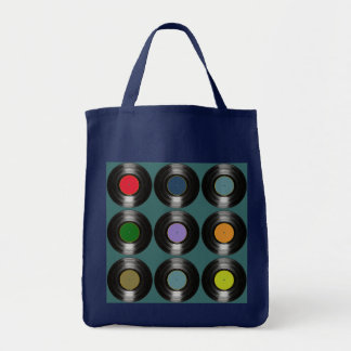 colored music vinyl records tote bag