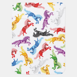 Colored Pattern jumping Horses Baby Blanket