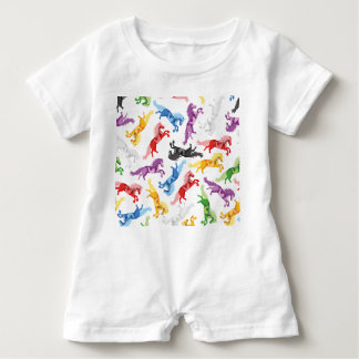 Colored Pattern jumping Horses Baby Romper