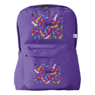 Colored Pattern jumping Horses Backpack