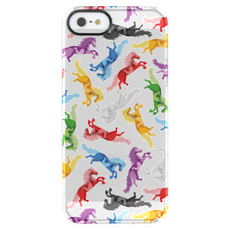 Colored Pattern jumping Horses Clear iPhone SE/5/5s Case