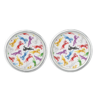 Colored Pattern jumping Horses Cuff Links