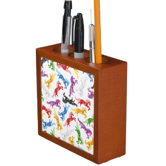 Colored Pattern jumping Horses Desk Organizer