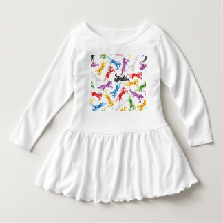 Colored Pattern jumping Horses Dress