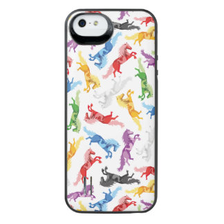 Colored Pattern jumping Horses iPhone SE/5/5s Battery Case