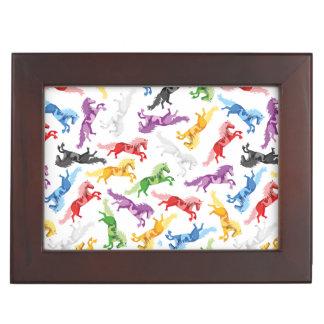 Colored Pattern jumping Horses Keepsake Box