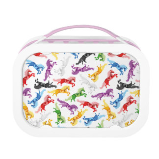 Colored Pattern jumping Horses Lunch Box
