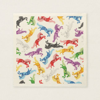Colored Pattern jumping Horses Napkin