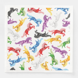 Colored Pattern jumping Horses Paper Dinner Napkin