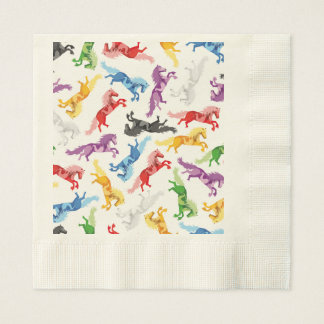 Colored Pattern jumping Horses Paper Napkin