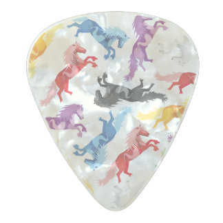 Colored Pattern jumping Horses Pearl Celluloid Guitar Pick