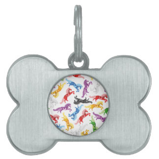 Colored Pattern jumping Horses Pet Name Tag