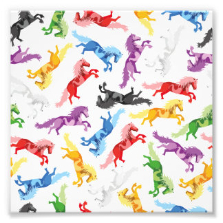 Colored Pattern jumping Horses Photo Print