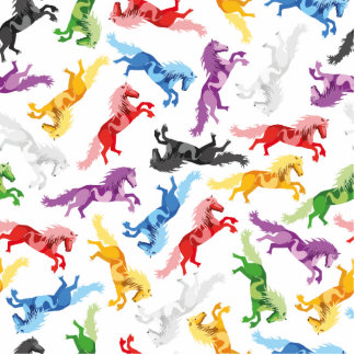Colored Pattern jumping Horses Photo Sculpture Button