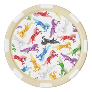 Colored Pattern jumping Horses Poker Chips