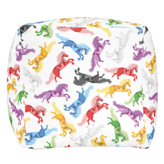 Colored Pattern jumping Horses Pouf