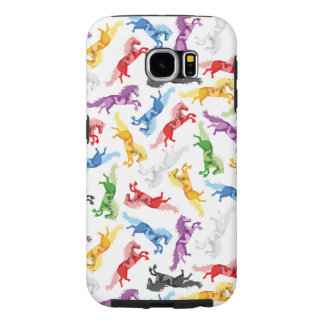 Colored Pattern jumping Horses Samsung Galaxy S6 Cases