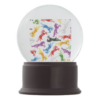 Colored Pattern jumping Horses Snow Globe