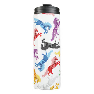 Colored Pattern jumping Horses Thermal Tumbler