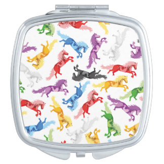Colored Pattern jumping Horses Travel Mirror