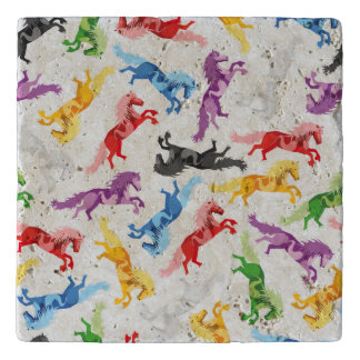 Colored Pattern jumping Horses Trivet