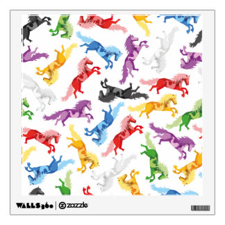 Colored Pattern jumping Horses Wall Decal
