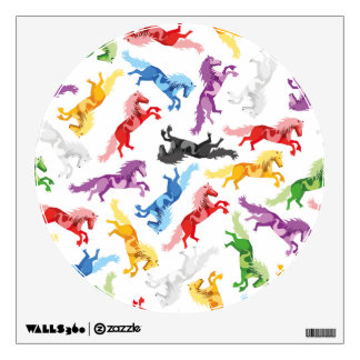 Colored Pattern jumping Horses Wall Sticker