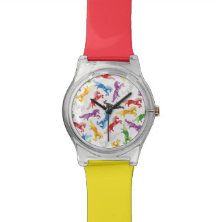 Colored Pattern jumping Horses Watch