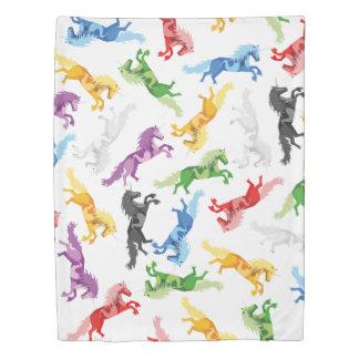 Colored Pattern Unicorn Duvet Cover