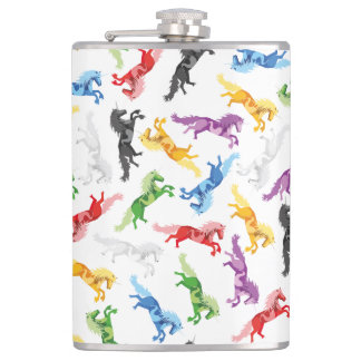 Colored Pattern Unicorn Hip Flask