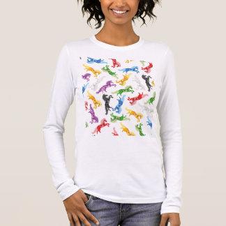 Colored Pattern Unicorn Long Sleeve T-Shirt