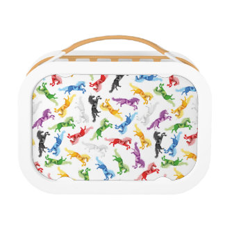 Colored Pattern Unicorn Lunch Box
