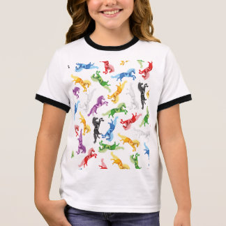 Colored Pattern Unicorn Ringer T-Shirt