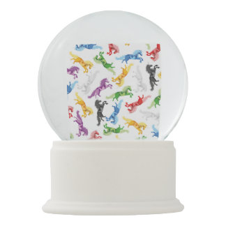 Colored Pattern Unicorn Snow Globe