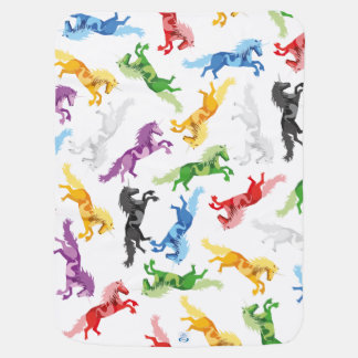 Colored Pattern Unicorn Stroller Blankets