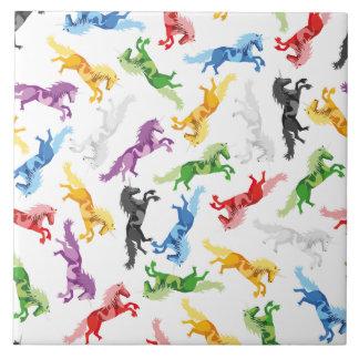 Colored Pattern Unicorn Tile