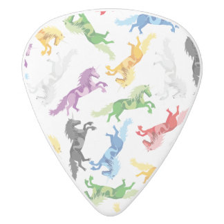 Colored Pattern Unicorn White Delrin Guitar Pick