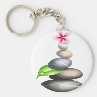 Colored pebbles basic round button keychain
