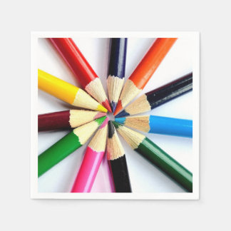 Colored Pencil Circle Disposable Napkin