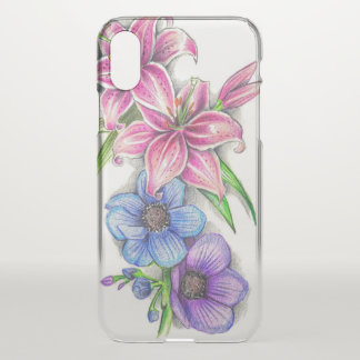 Colored Pencil Flower Drawing iPhone X Case