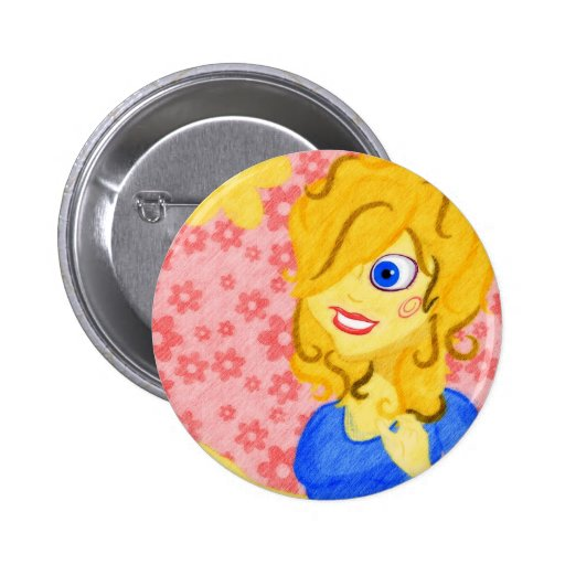 Colored Pencil Girl and Flowers Buttons