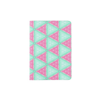 Colored Pencil Pastel Teal Pink Passport Holder
