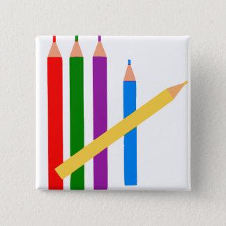 Colored Pencils 2 Inch Square Button