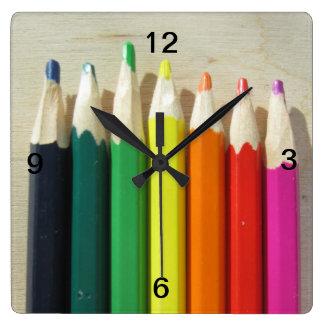 Colored pencils rainbow wallclock
