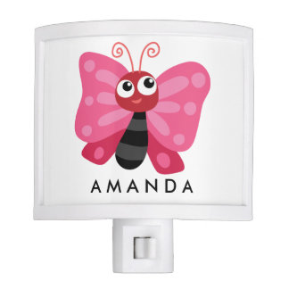 Colored Personalizable pink cute butterfly Night Light