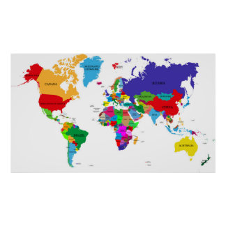 Colored Political World Map Poster