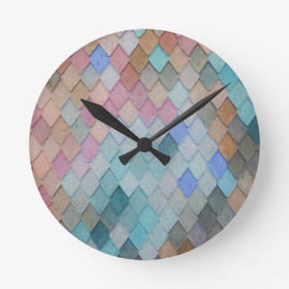 Colored Roof Tiles - PaintingZ Round Clock
